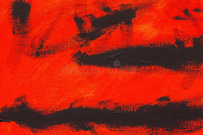 Abstract red black tempera painting brush strokes. Abstract red and black brush strokes, real tempera painting on canvas by hand full frame royalty free stock photo