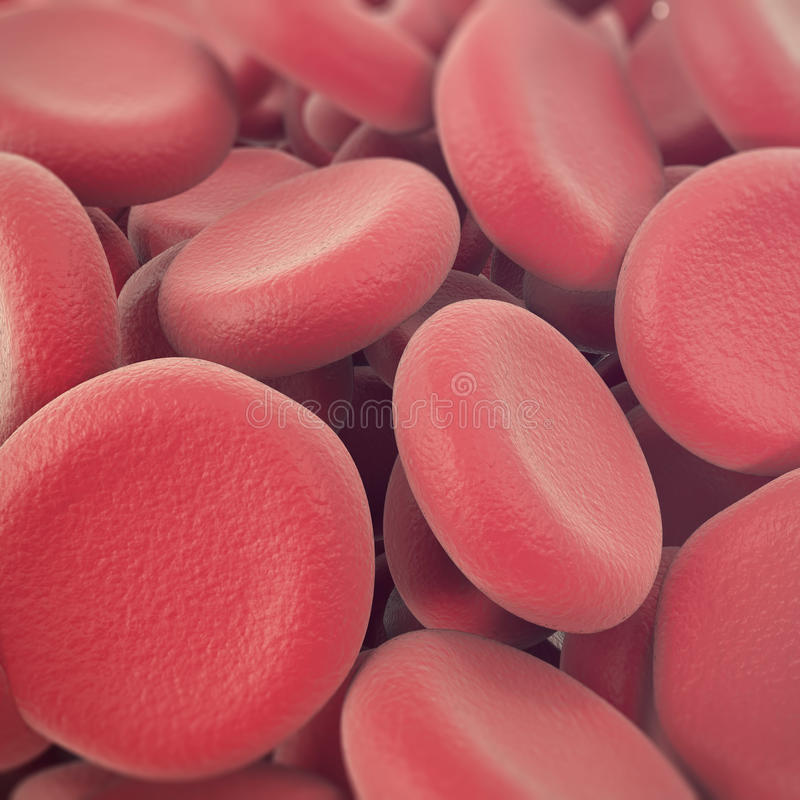 Abstract red blood cells, erythrocytes illustration, scientific, medical or microbiological background with depth of stock photography