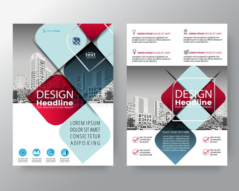 Abstract red and blue cross graphic element Vector brochure cove vector illustration