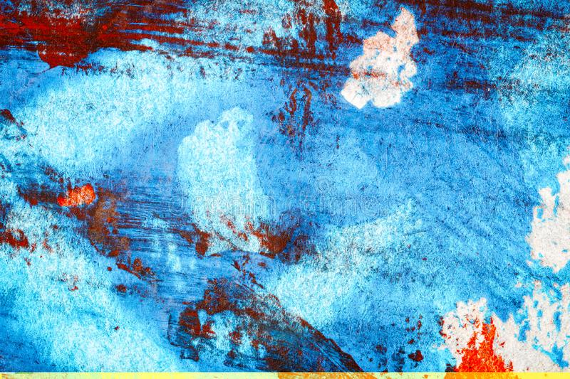 Abstract red and blue hand painted acrylic background stock photos