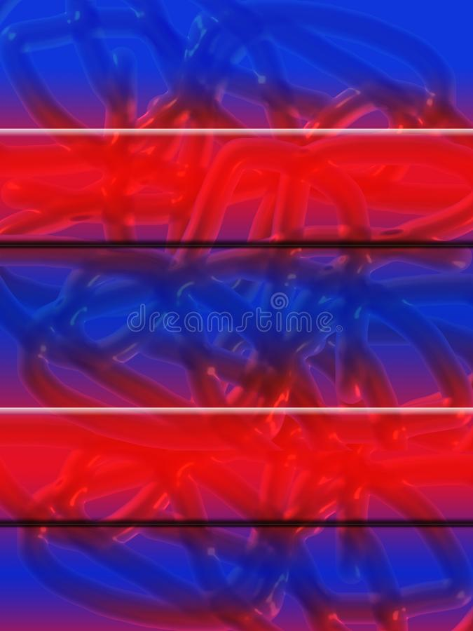 Abstract red blue textured background with cylinders and banners. Transparent tubes like tentacles royalty free illustration