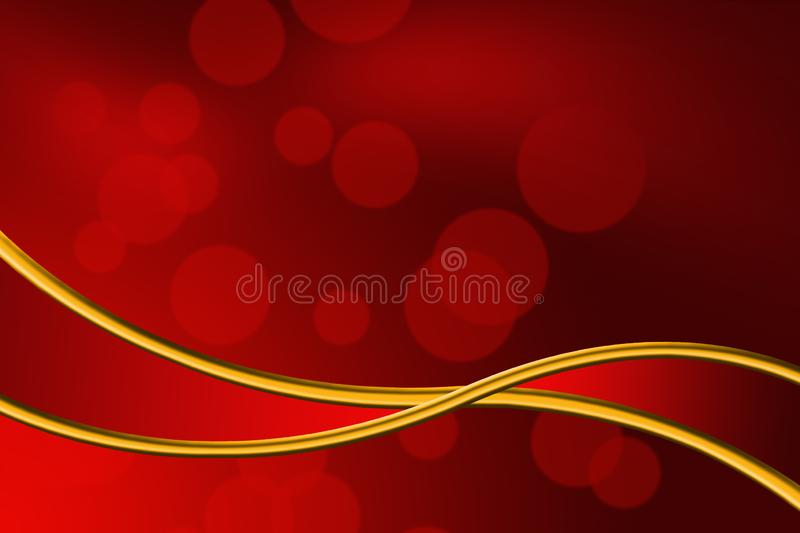 Abstract red bokeh and gold ribbon background stock images