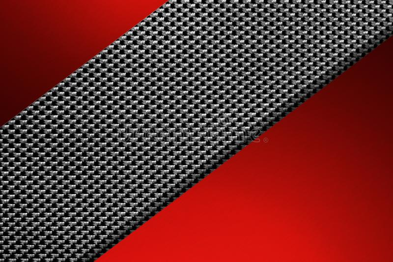 Abstract Red Brushed Metal on Grey Fibers Texture Background vector illustration