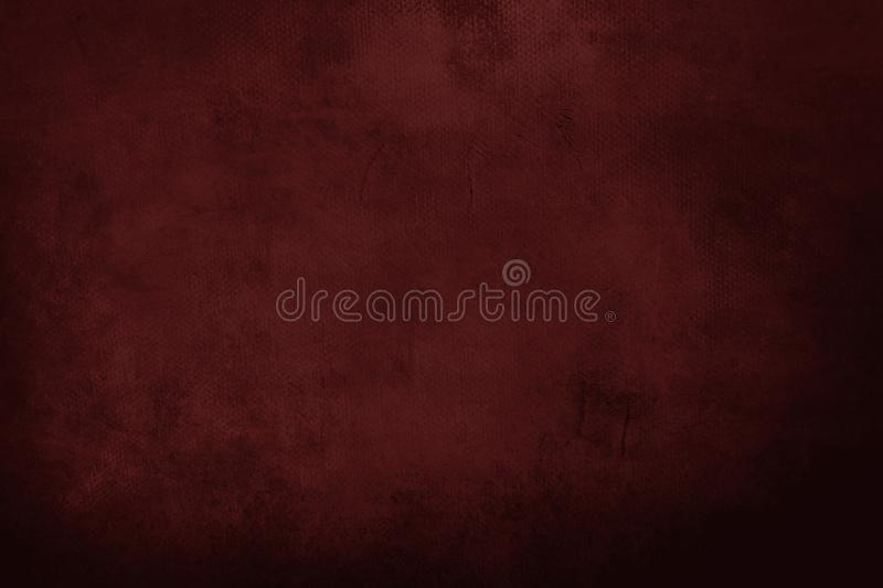 Dark red grungy painting background. Abstract red canvas detail texture or background stock photography
