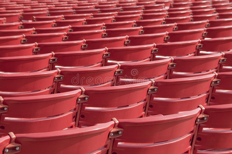 Abstract Red Chairs. Outdoor auditorium empty red chairs stock images