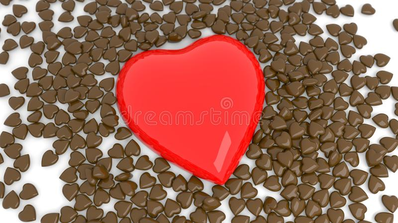 Abstract red chocolate heart bokeh background for Valentine`s day. 3d render. 3d illustration stock photos