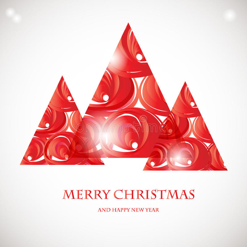 Download Abstract Red Christmas Tree From Transparent Elements Card Design