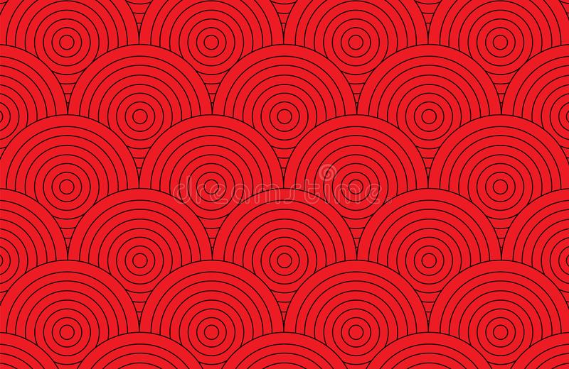 Abstract red circle pattern wallpaper background. Vector illustration.Retro art pattern background royalty free illustration