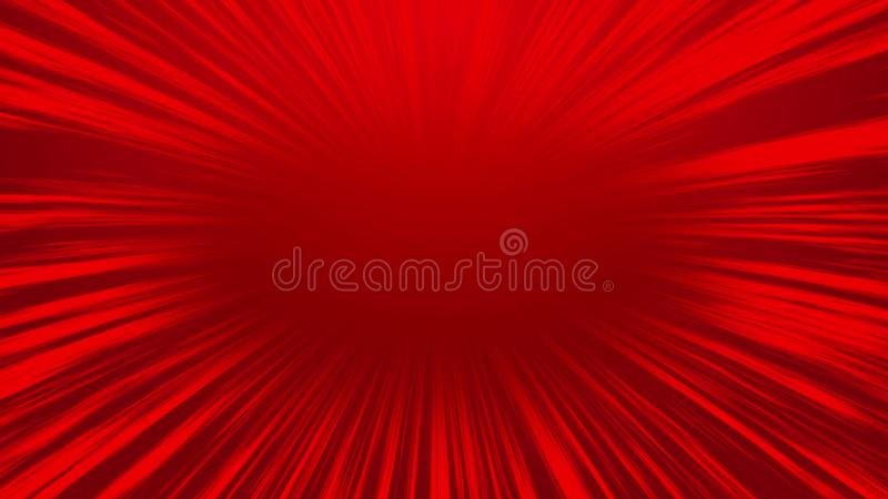 Abstract red comic radial speed line background, cartoon background.  royalty free illustration