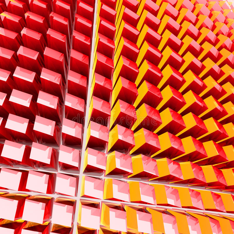 Abstract red cubes geometric glossy background. 3d render illustration royalty free illustration