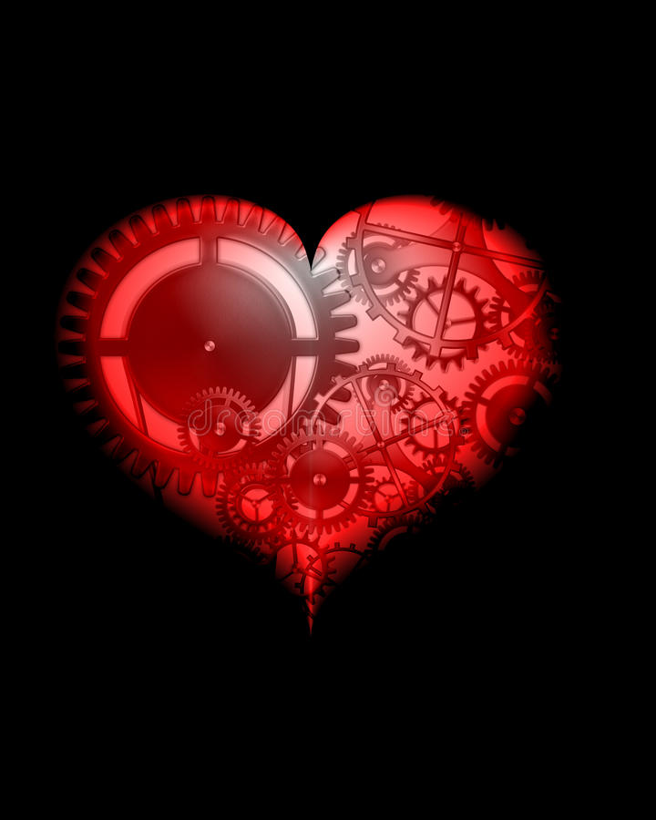 Abstract red design steampunk heart stock illustration