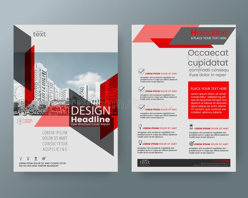 Abstract red diagonal line brochure annual report cover flyer po royalty free illustration