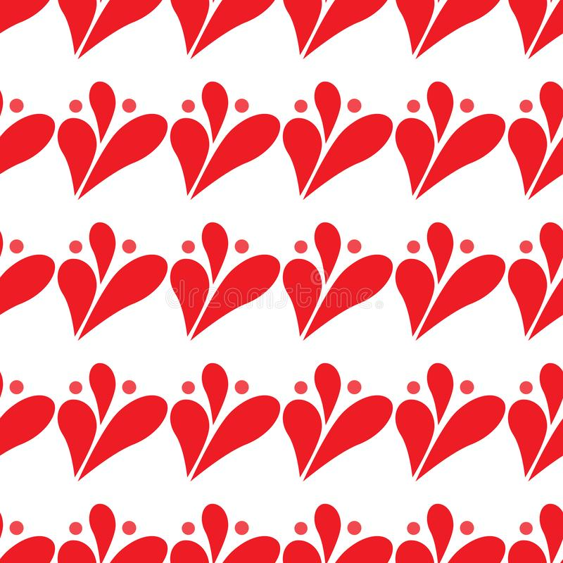 Abstract red drop background, seamless pattern on white stock illustration
