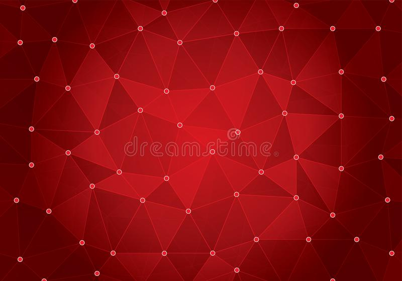 Abstract Red Geometric triangular low poly with dots and lines gradient illustration for graphic background. royalty free illustration