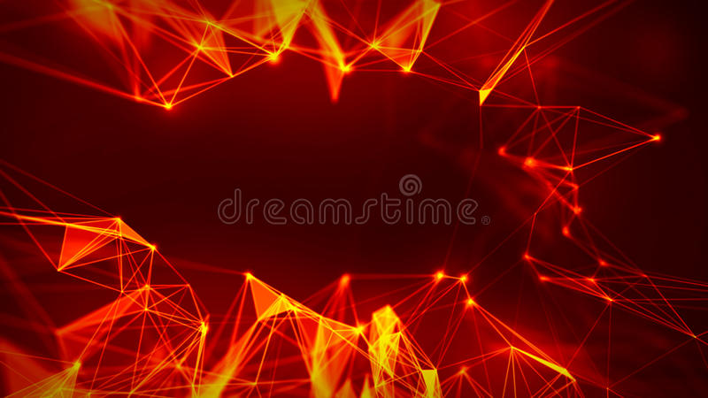Abstract Red Geometrical Background ..Futuristic technology style. Neon Sign . Futuristic Technology HUD Element. Elegant Abstract background . Big data royalty free illustration