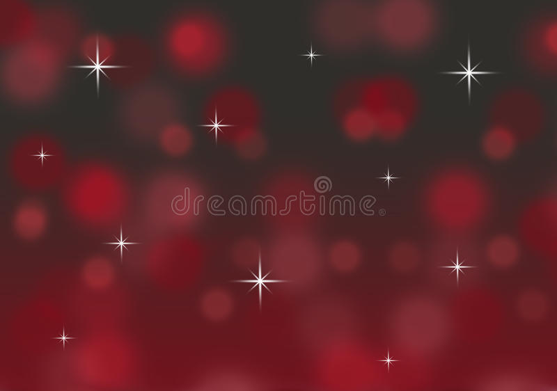 Abstract red and black bokeh Christmas background with twinkling stars vector illustration