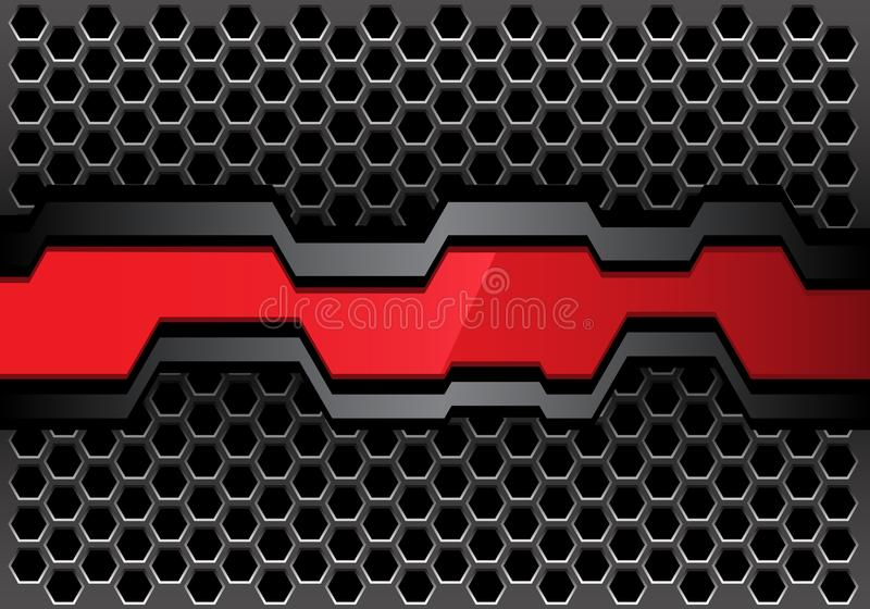Abstract red gray polygon banner on metal hexagon mesh design modern futuristic background vector. Illustration royalty free illustration