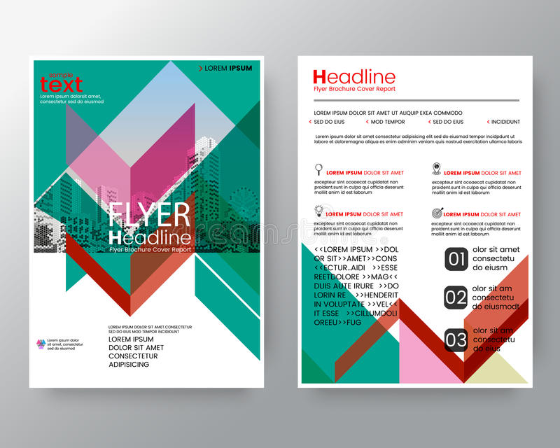 Abstract red and green diagonal line Brochure annual report cover Flyer Poster design Layout template in A4 size stock illustration