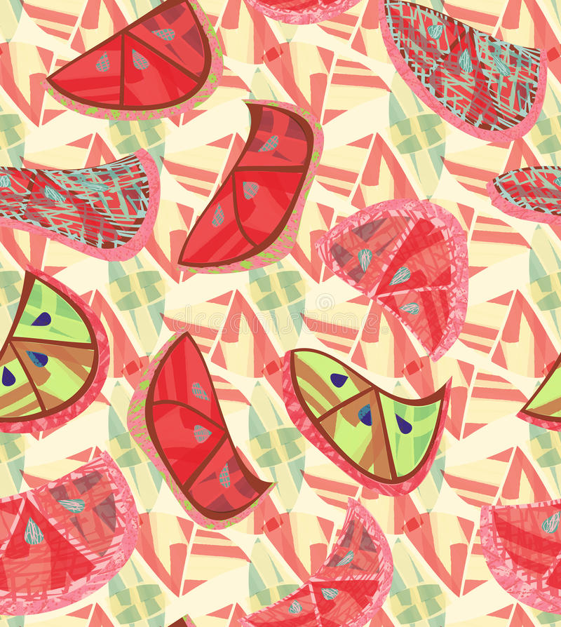 Abstract red green orange slices with texture stock illustration