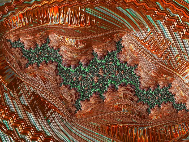 Abstract red and green textured fractal pattern, 3d render for creative art, design and entertainment. Background for brochure,. Website, flyer design royalty free illustration