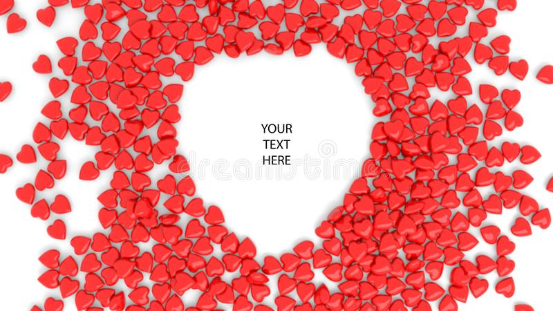 Abstract red heart bokeh background for Valentine`s day. 3d render. 3d illustration stock photo