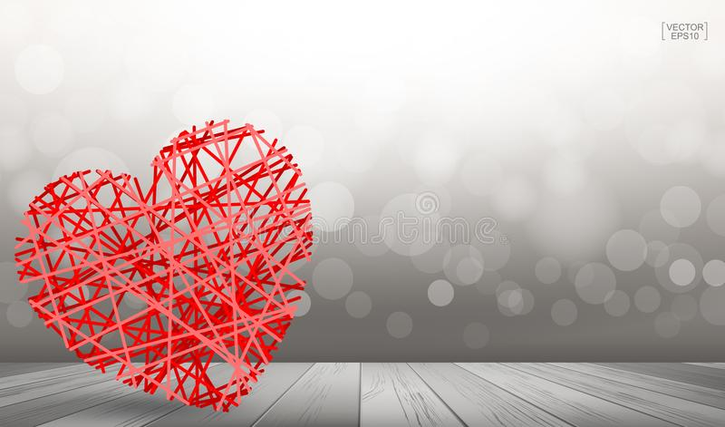 Abstract red heart floating over wooden floor texture with light blurred bokeh background. vector illustration