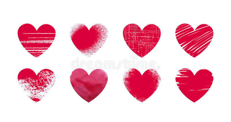 Abstract red heart, grunge. Set icons or logos on theme of love, wedding, health, Valentine`s day. Vector illustration. Abstract red heart, grunge. Set icons or vector illustration