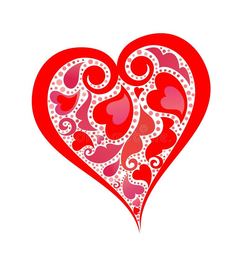 Abstract red heart shape stock illustration