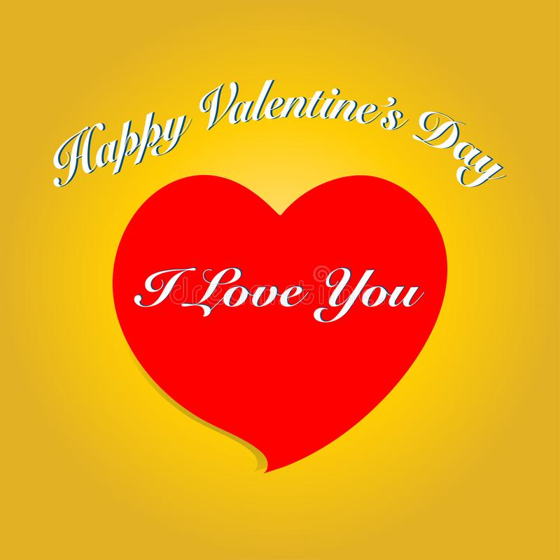 Valentine`s day card with heart and text. Vector illustration. E stock illustration