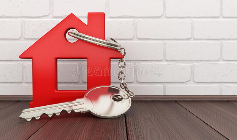 Abstract red home and key. 3d illustration royalty free illustration