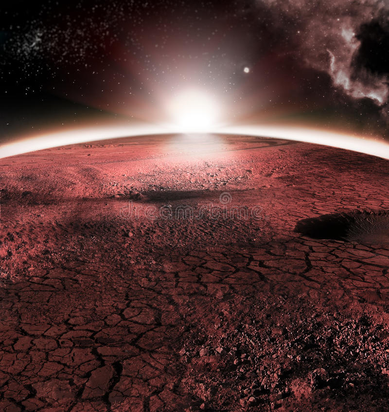 The abstract red landscape of Mars planet. Looks like cold desert on Mars. A huge field of ice. The abstract red landscape of Mars planet. Looks like cold desert royalty free stock photo
