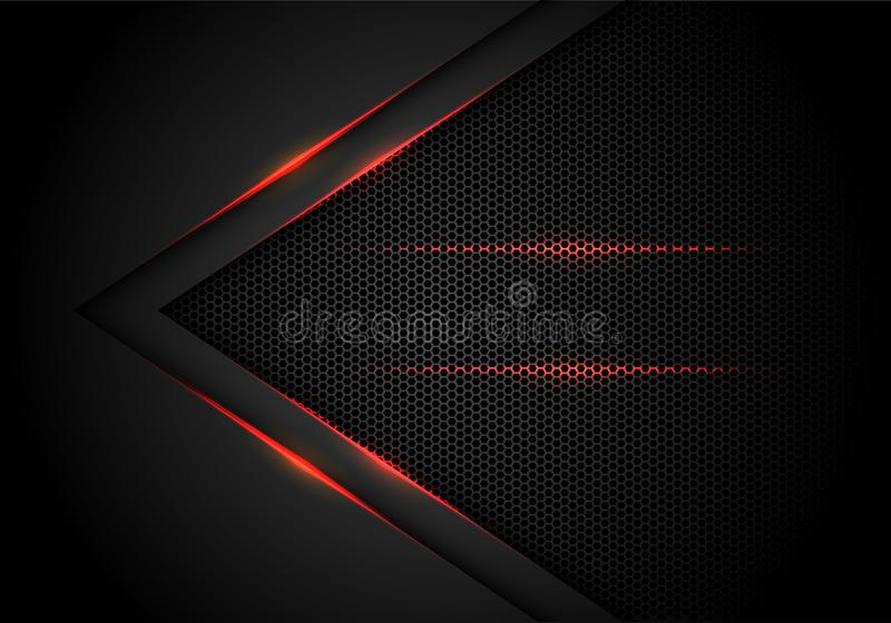 Abstract red light arrow on black with hexagon mesh design modern luxury futuristic technology background vector royalty free illustration