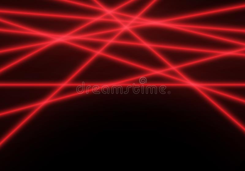 Abstract red line laser light beam on black technology background vector. Illustration stock illustration