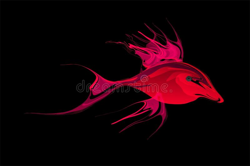 Abstract red and magenta shaded fish with black Background. Vector Illustration royalty free illustration