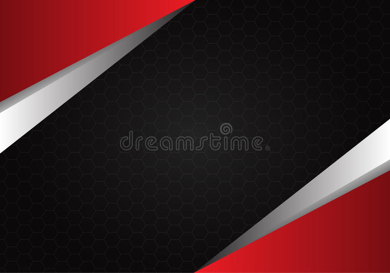 Abstract red metal on hexagon mesh black design background texture vector stock illustration