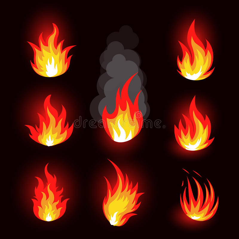 Abstract red and orange color fire flame logo set on black background. Realistic hot campfire logotype. Collection. Spicy food symbol. Heat icon. Hot energy royalty free illustration