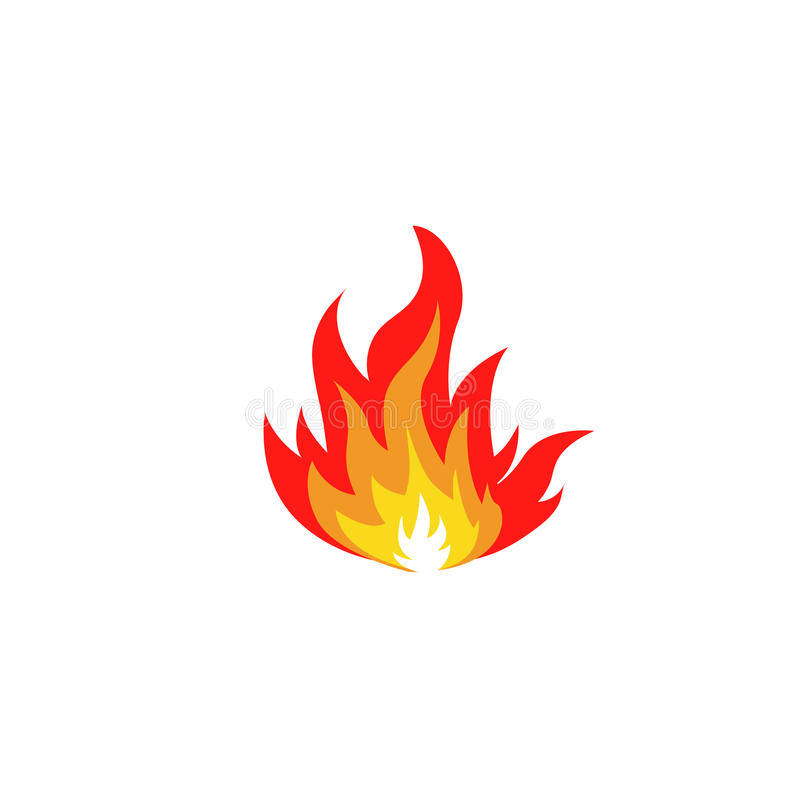 Abstract red and orange color fire flame logo on white background. Campfire logotype. Spicy food symbol. Heat. Abstract red and orange color fire flame logo set stock illustration