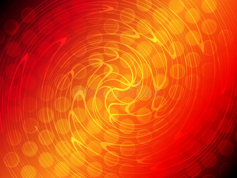 Abstract red orange gradient circle and twist line glowing background vector illustration