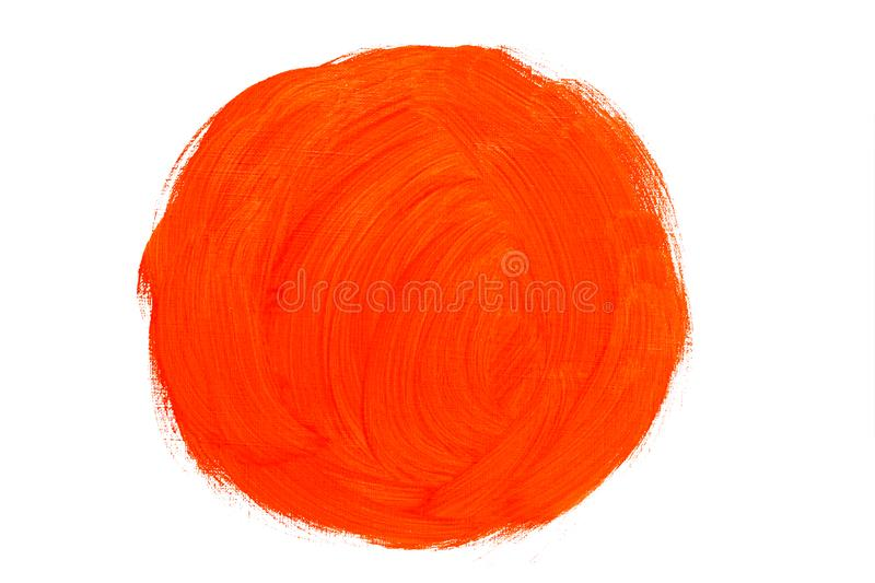 Abstract red orange oil painting circle brush strokes. Abstract red orange real oil painting circle brush strokes isolated on white background, painted with red stock photo