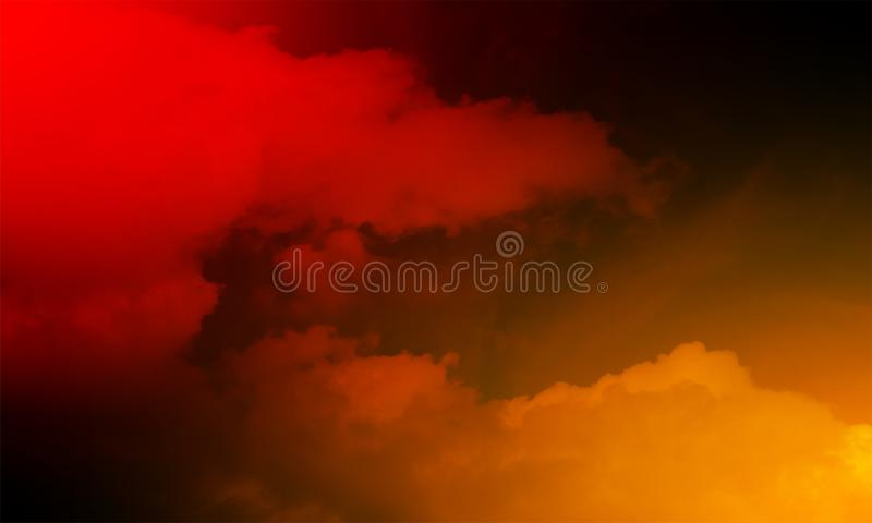 Abstract red and orange smoke mist fog on a black background. royalty free illustration