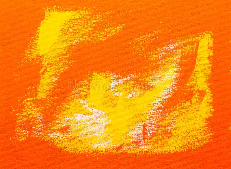 Abstract red orange tempera painting brush strokes. Abstract red, orange and yellow brush strokes, real tempera painting on canvas by hand full frame stock image