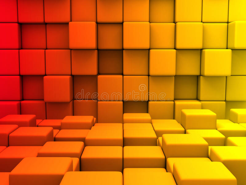 Abstract Red Orange Yellow Cubes Blocks Wall Background stock illustration