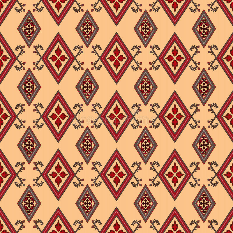 Abstract red ornament seamless pattern beige royalty free illustration