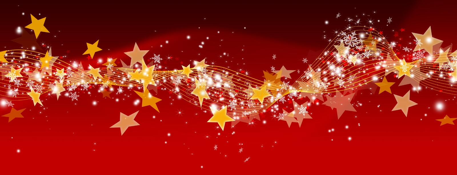 Abstract Red Panorama Background with Glittering and Twinkling S stock illustration