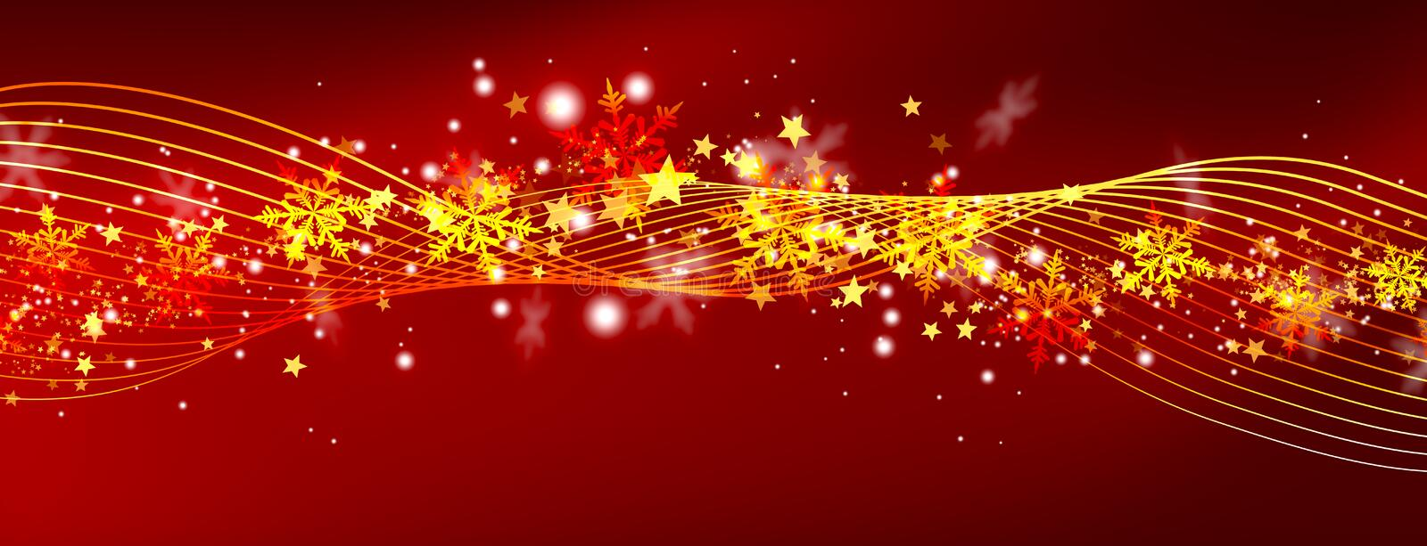 Abstract Red Panorama Background with Glittering and Twinkling S vector illustration