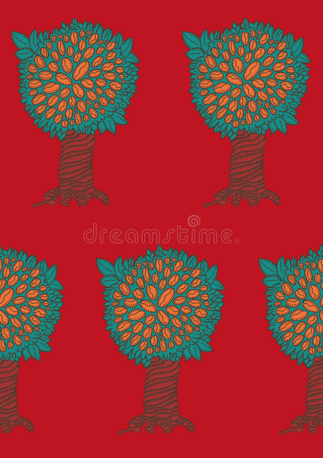 Download Abstract Red Pattern Coffee Tree Stock Illustration - Image: 27868916