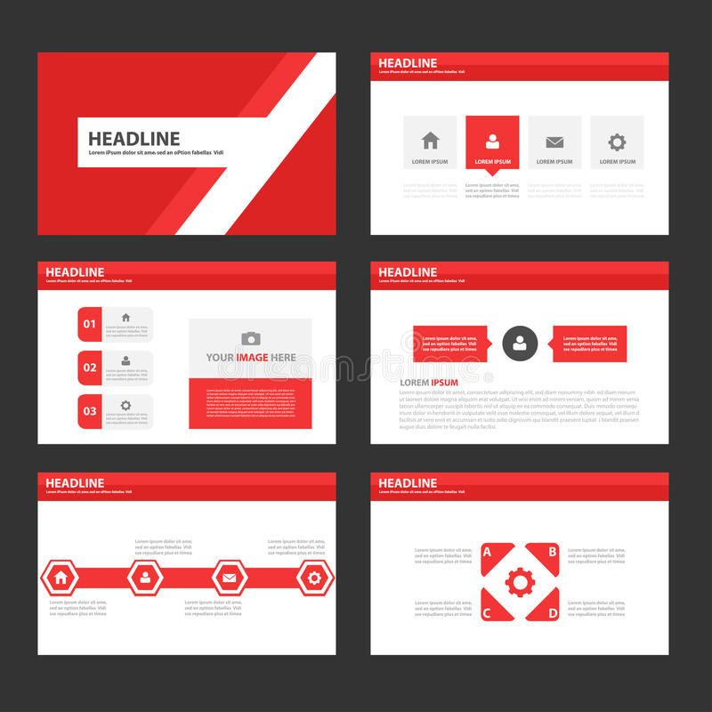 infographic brochure template - abstract red polygon infographic element and icon