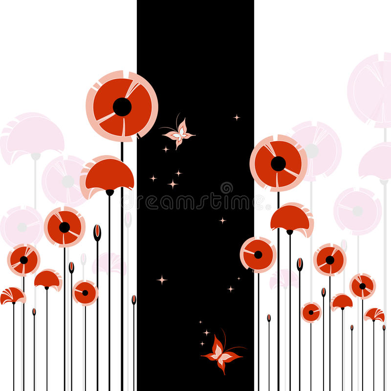 Download Abstract Red Poppy On Black And White Background Stock Vector - Image: 19135331