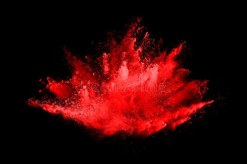 Abstract red powder explosion on black background. royalty free illustration