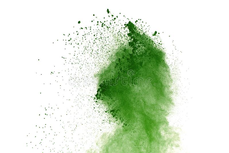 Abstract Red powder splatted background,Freeze motion of red powder exploding/throwing green dust. stock images